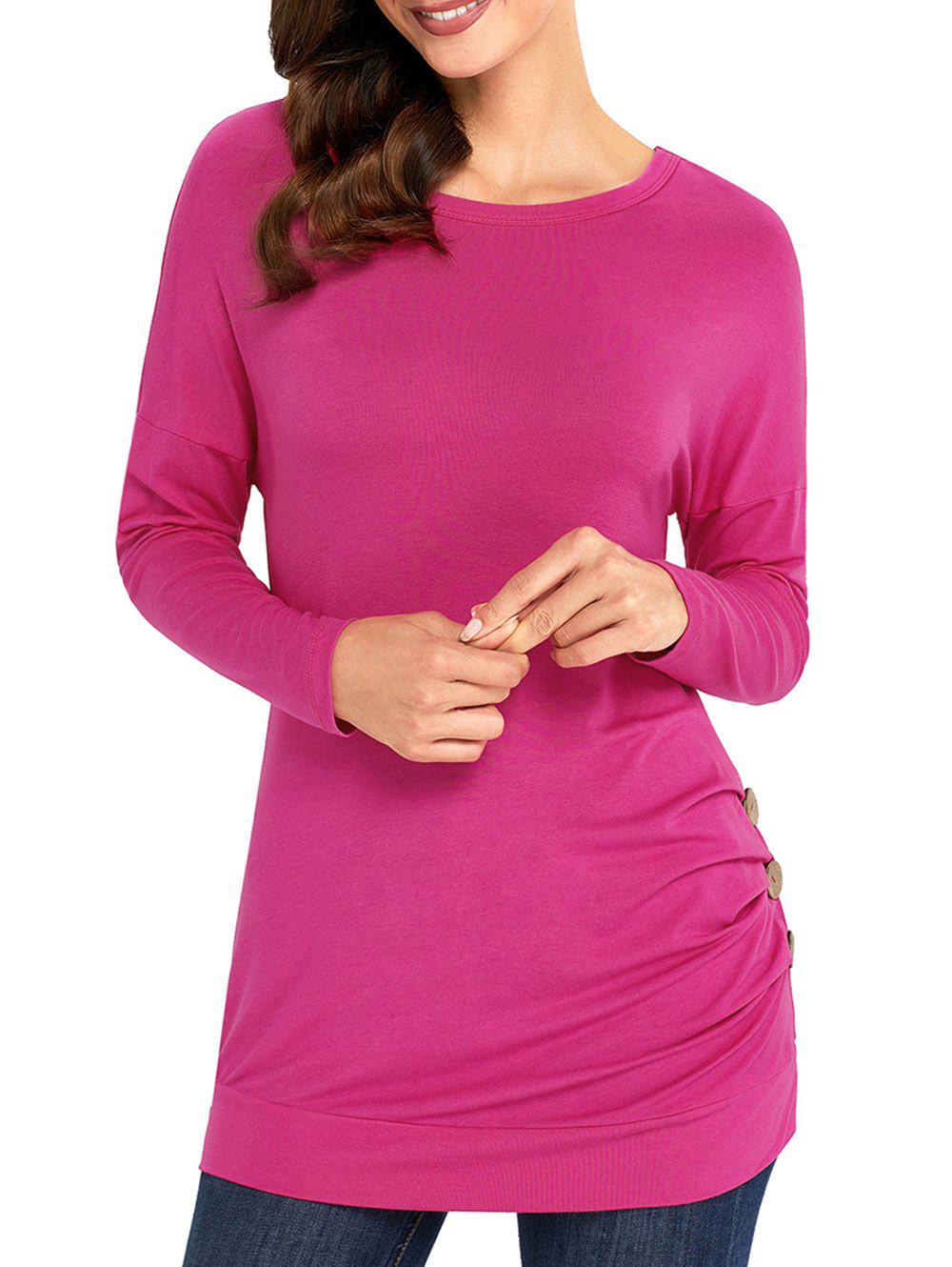 Discount Long Sleeve Button Embellished Tunic Top