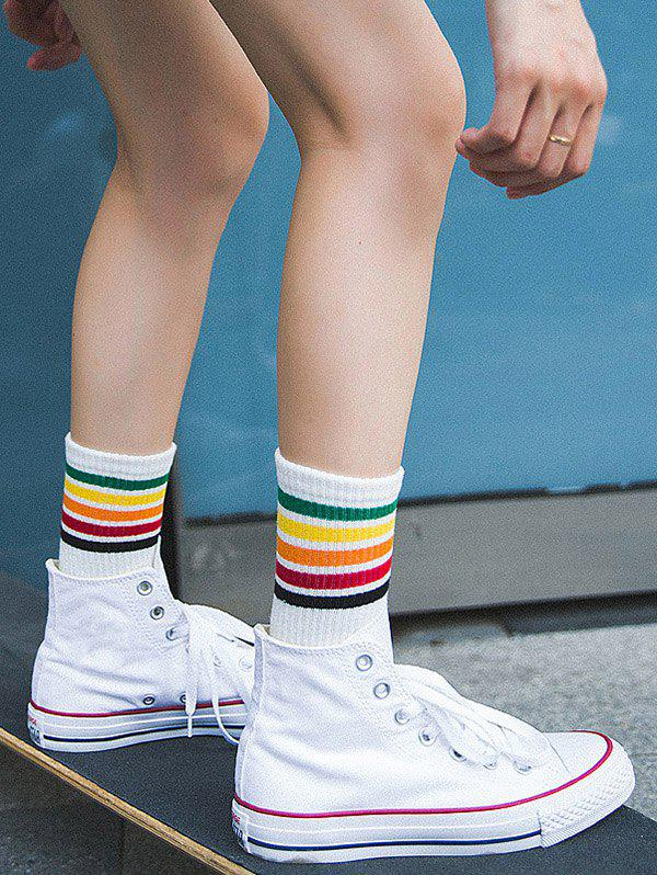Colorful Striped Pattern Tube SocksACCESSORIES<br><br>Color: WHITE; Type: Socks; Group: Adult; Gender: For Women; Style: Active; Pattern Type: Striped; Material: Spandex; Weight: 0.1100kg; Package Contents: 1 x Socks(Pair);