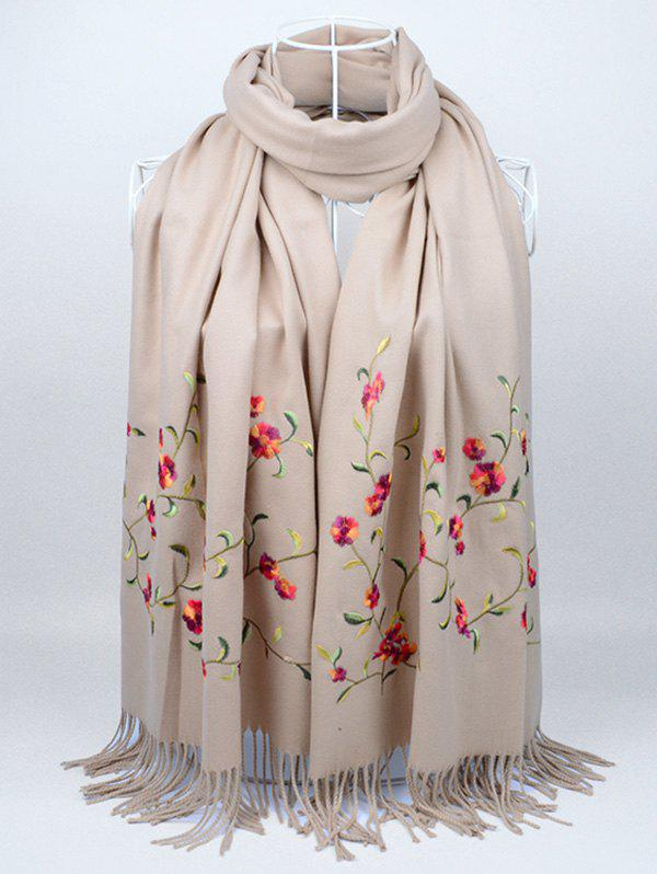 Online Vintage Floral Embroidery Faux Wool Long Scarf