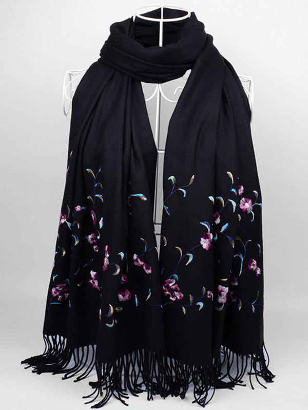 Vintage Floral Embroidery Faux Wool Long ScarfACCESSORIES<br><br>Color: BLACK;