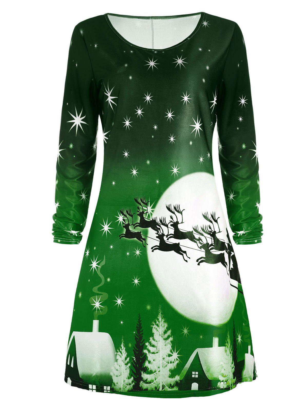 Christmas Deer Long Sleeve Tee Skater DressWOMEN<br><br>Size: XL; Color: GREEN; Style: Casual; Material: Polyester; Silhouette: A-Line; Dresses Length: Knee-Length; Neckline: Round Collar; Sleeve Length: Long Sleeves; Pattern Type: Animal,Character,Print,Star; With Belt: No; Season: Fall; Weight: 0.2300kg; Package Contents: 1 x Dress; Occasion: Casual;