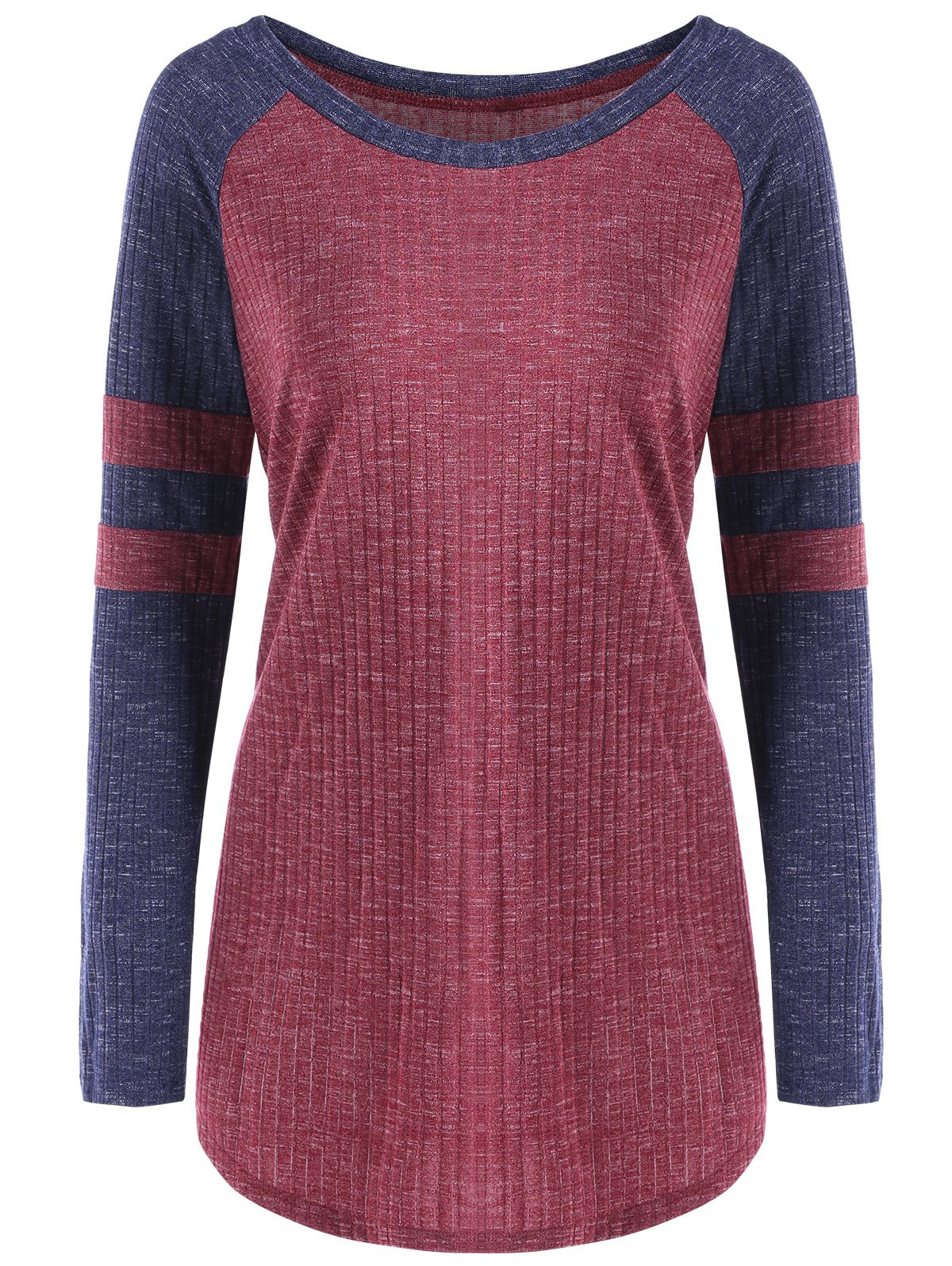 Color Block Raglan Sleeve Ribbed TopWOMEN<br><br>Size: M; Color: RED; Material: Cotton,Polyester,Spandex; Shirt Length: Long; Sleeve Length: Full; Collar: Scoop Neck; Style: Casual; Sleeve Type: Raglan Sleeve; Pattern Type: Others; Season: Fall,Spring; Weight: 0.3120kg; Package Contents: 1 x Top;