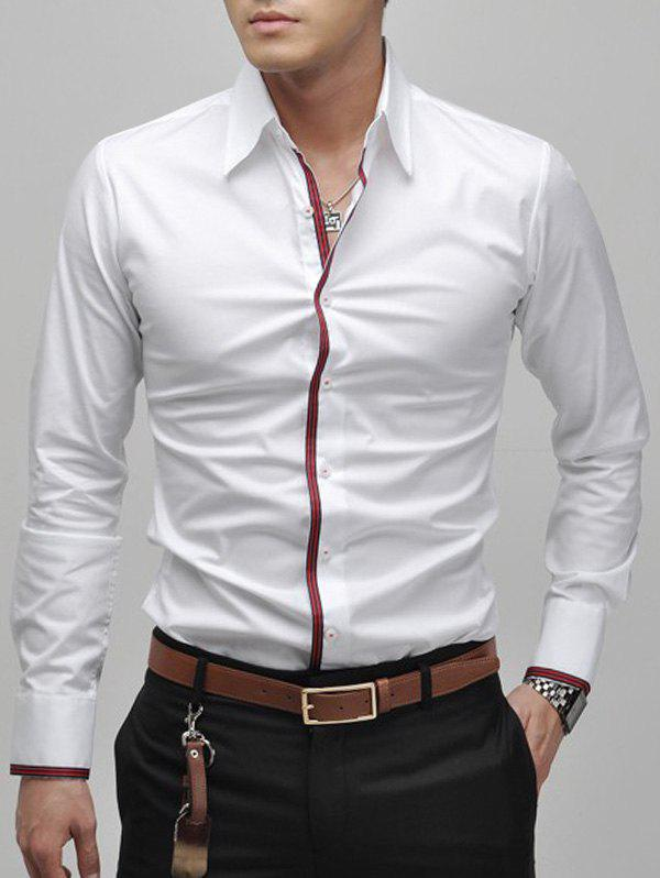 Slimming Lapel Striped Hem Long Sleeve Cotton Blend Mens Casual ShirtMEN<br><br>Size: L; Color: WHITE; Shirts Type: Casual Shirts; Material: Cotton,Polyester; Sleeve Length: Full; Collar: Turn-down Collar; Weight: 0.5000kg; Package Contents: 1 x Shirt;