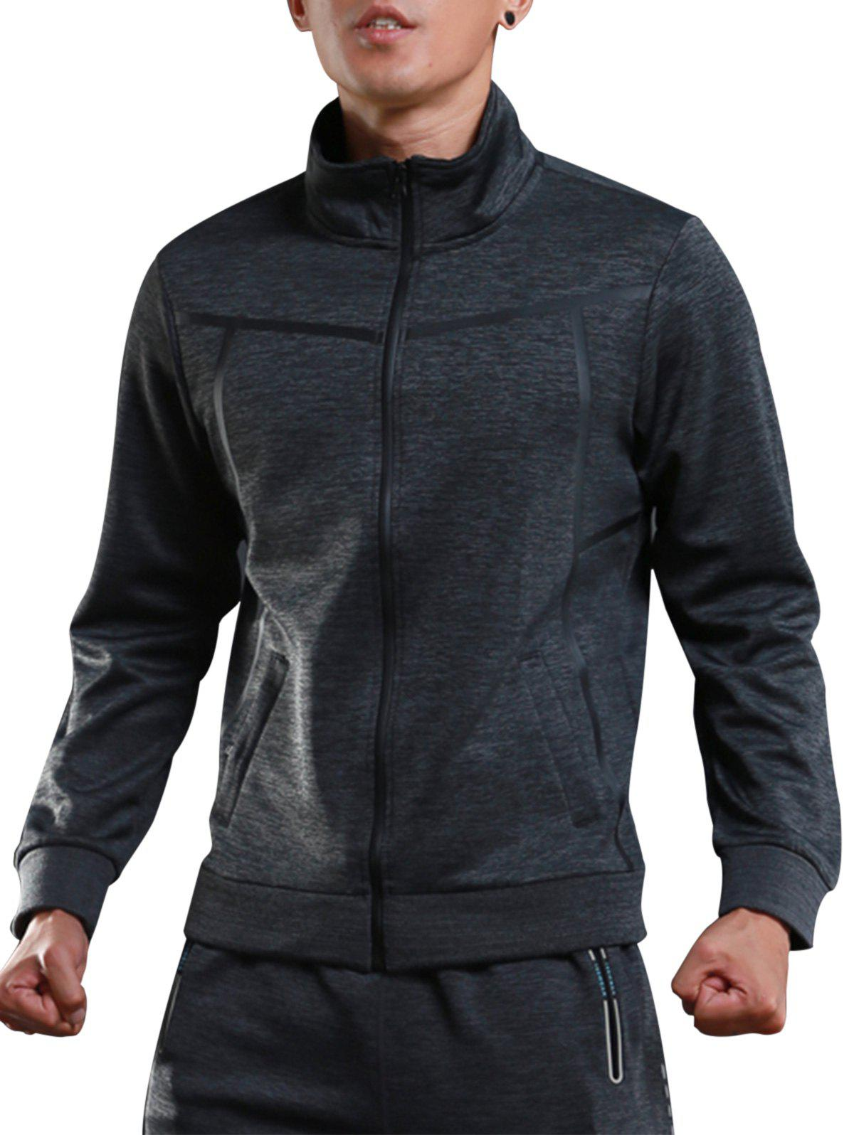 Buy Stand Collar Zip Up Sports Track Jacket