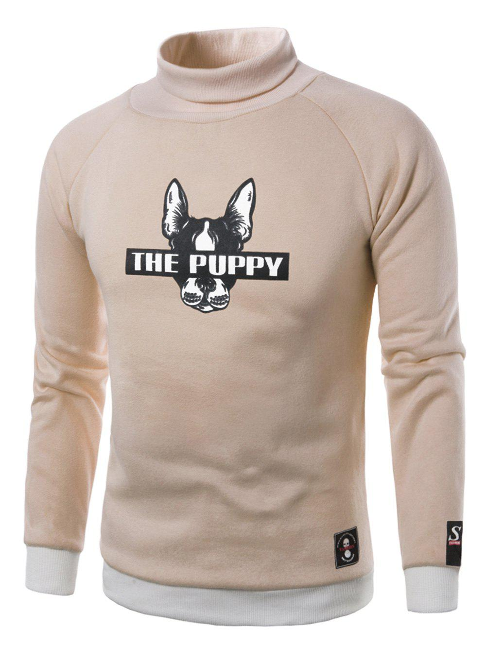 New Dog Graphic Print Turtle Neck Fleece Sweatshirt