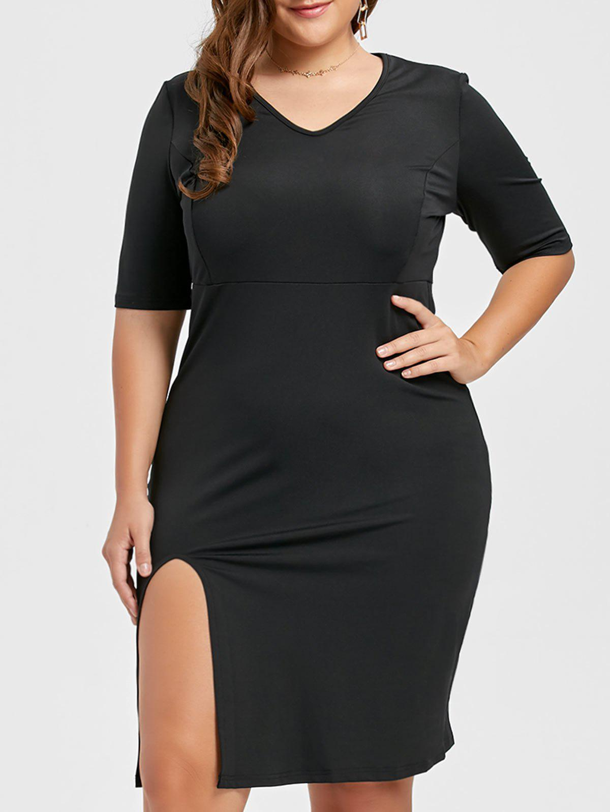 Hot V Neck Plus Size Sheath Tight Pencil Dress