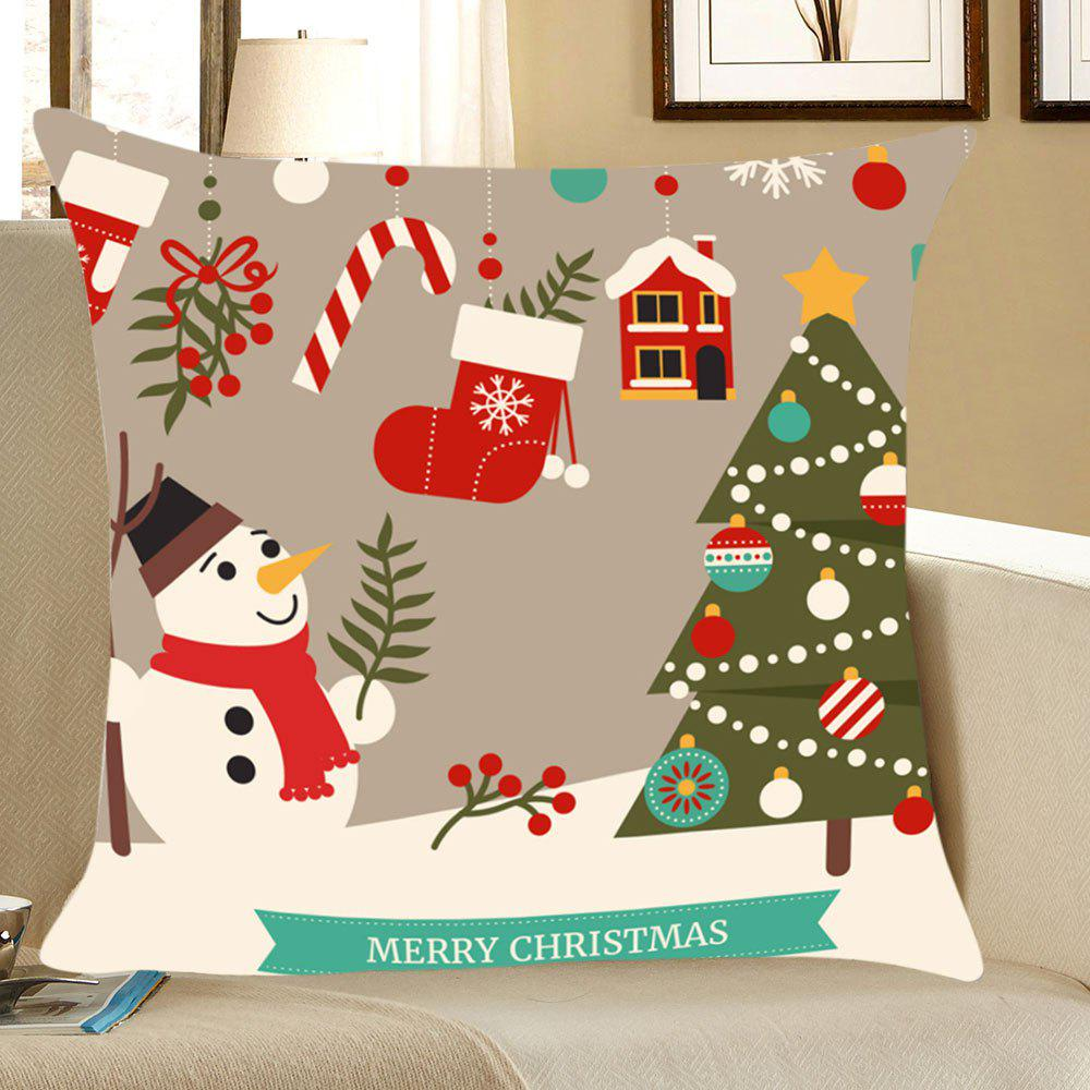 Christmas Decorations Snowman Patterned Throw Pillow CaseHOME<br><br>Size: W18 INCH * L18 INCH; Color: COLORFUL; Material: Linen; Fabric Type: Linen; Pattern: Christmas Tree,Snowman; Style: Festival; Shape: Square; Weight: 0.0700kg; Package Contents: 1 x Pillow Case;
