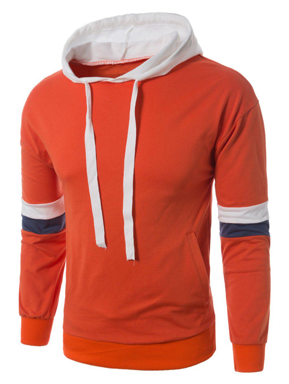 Hot Color Block Panel Drawstring Pullover Hoodie