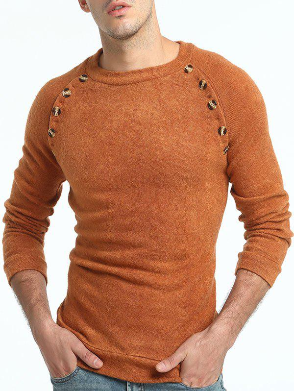 Store Raglan Sleeve Button Embellished Sweater