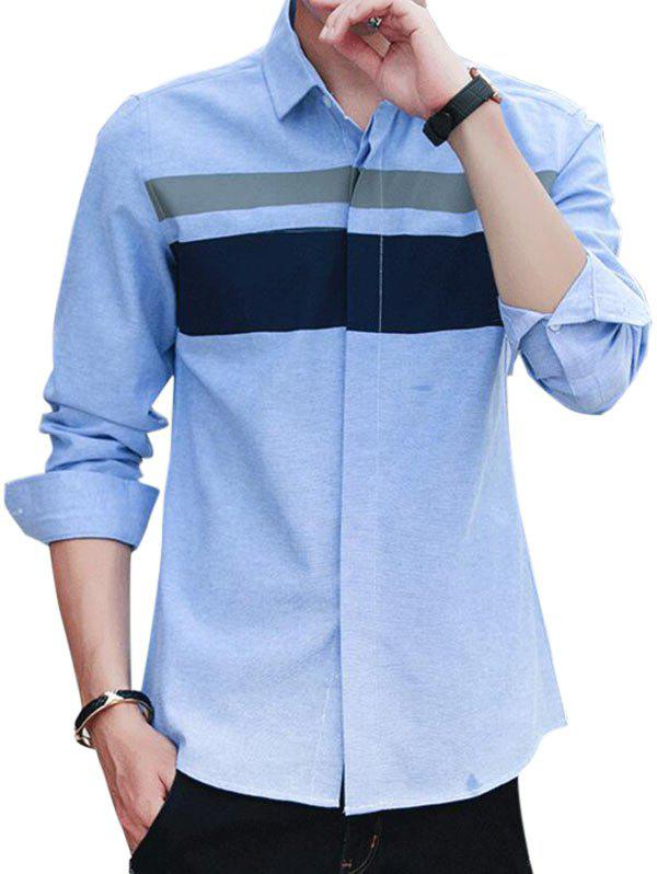 Fancy Covered Button Long Sleeve Striped Shirt