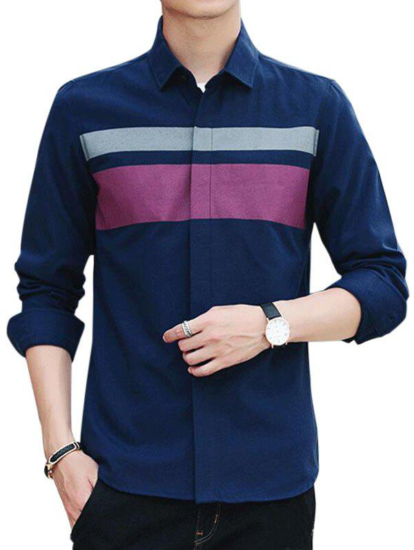 Unique Covered Button Long Sleeve Striped Shirt