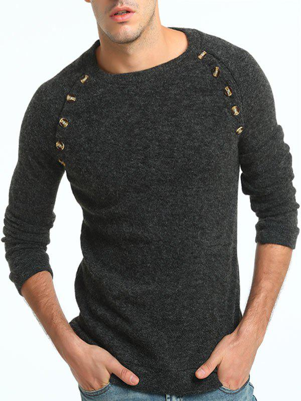 Raglan Sleeve Button Embellished SweaterMEN<br><br>Size: 3XL; Color: DEEP GRAY; Material: Cotton,Polyester; Sleeve Length: Full; Collar: Crew Neck; Style: Active; Embellishment: Button; Pattern Type: Solid; Season: Fall,Spring,Winter; Weight: 0.3800kg; Package Contents: 1 x Sweater;