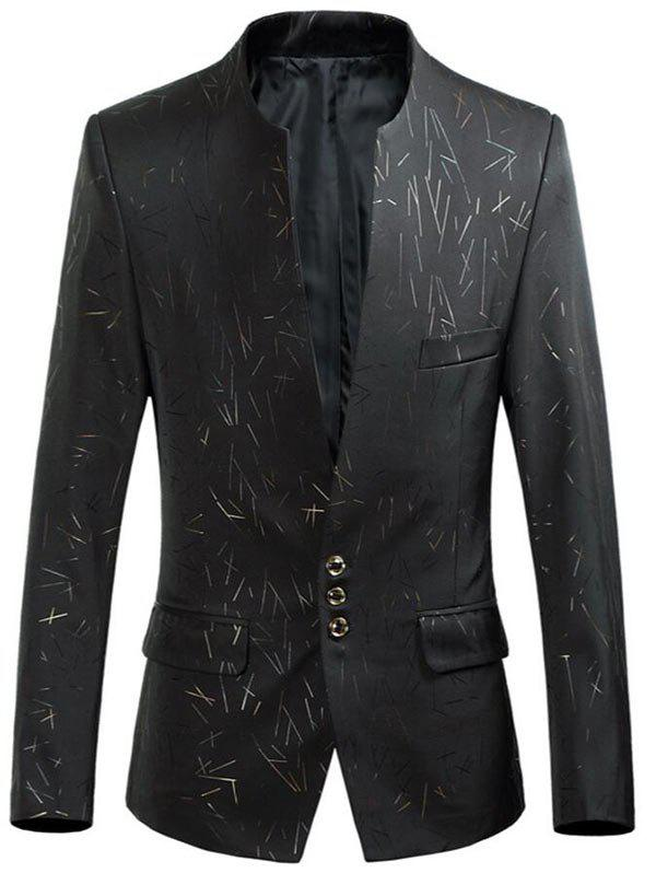 Shops Collarless Single Breasted Printed Blazer