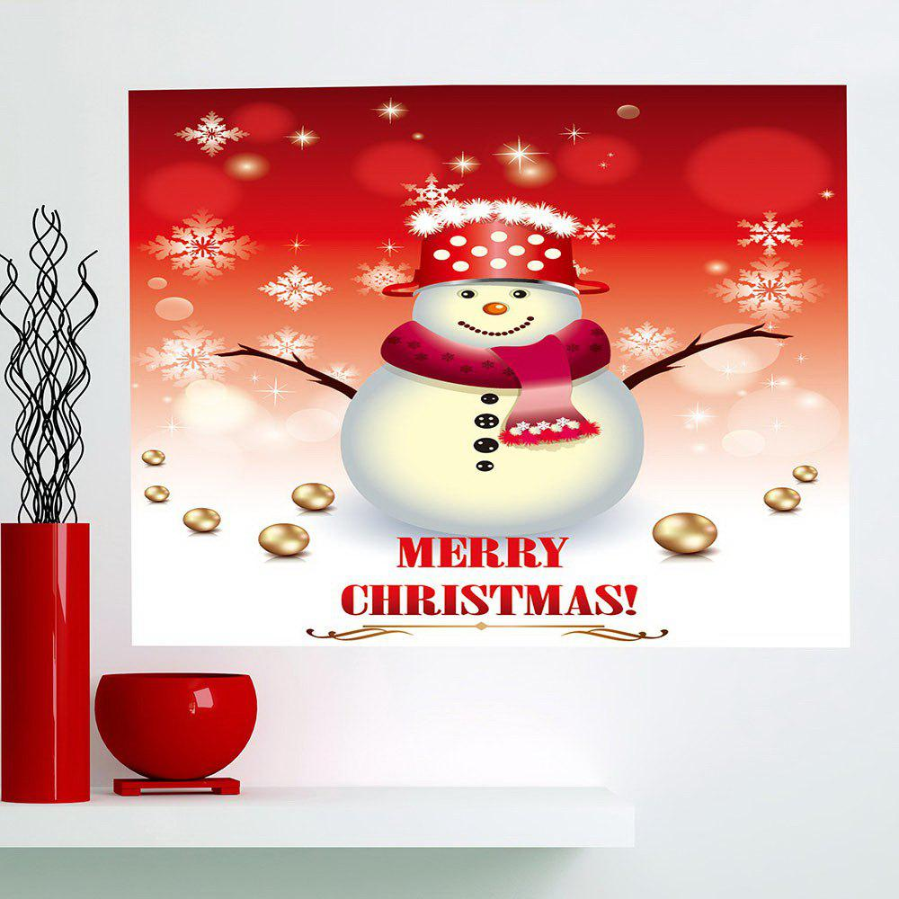 Outfits Multifunction Christmas Snowman and Snow Pattern Wall Sticker
