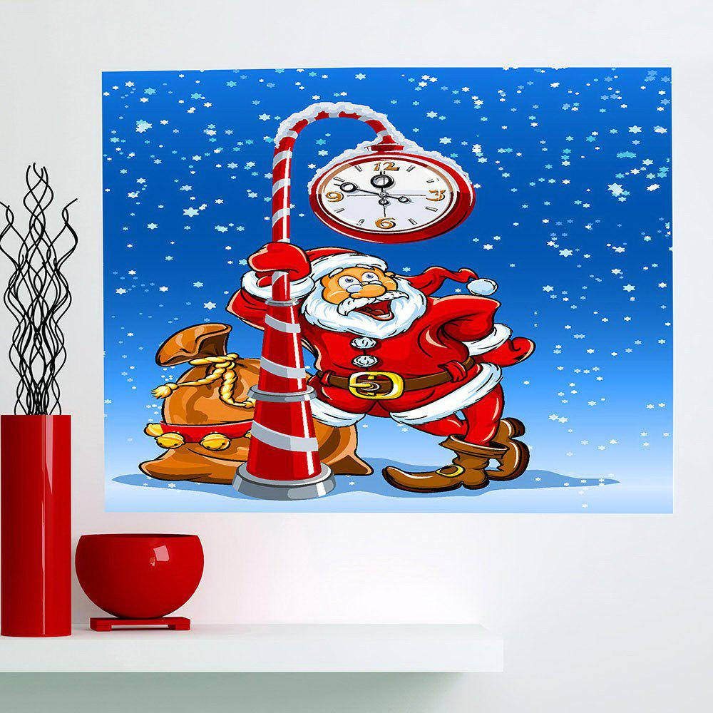 Store Multifunction Christmas Clock Santa Claus Pattern Wall Sticker