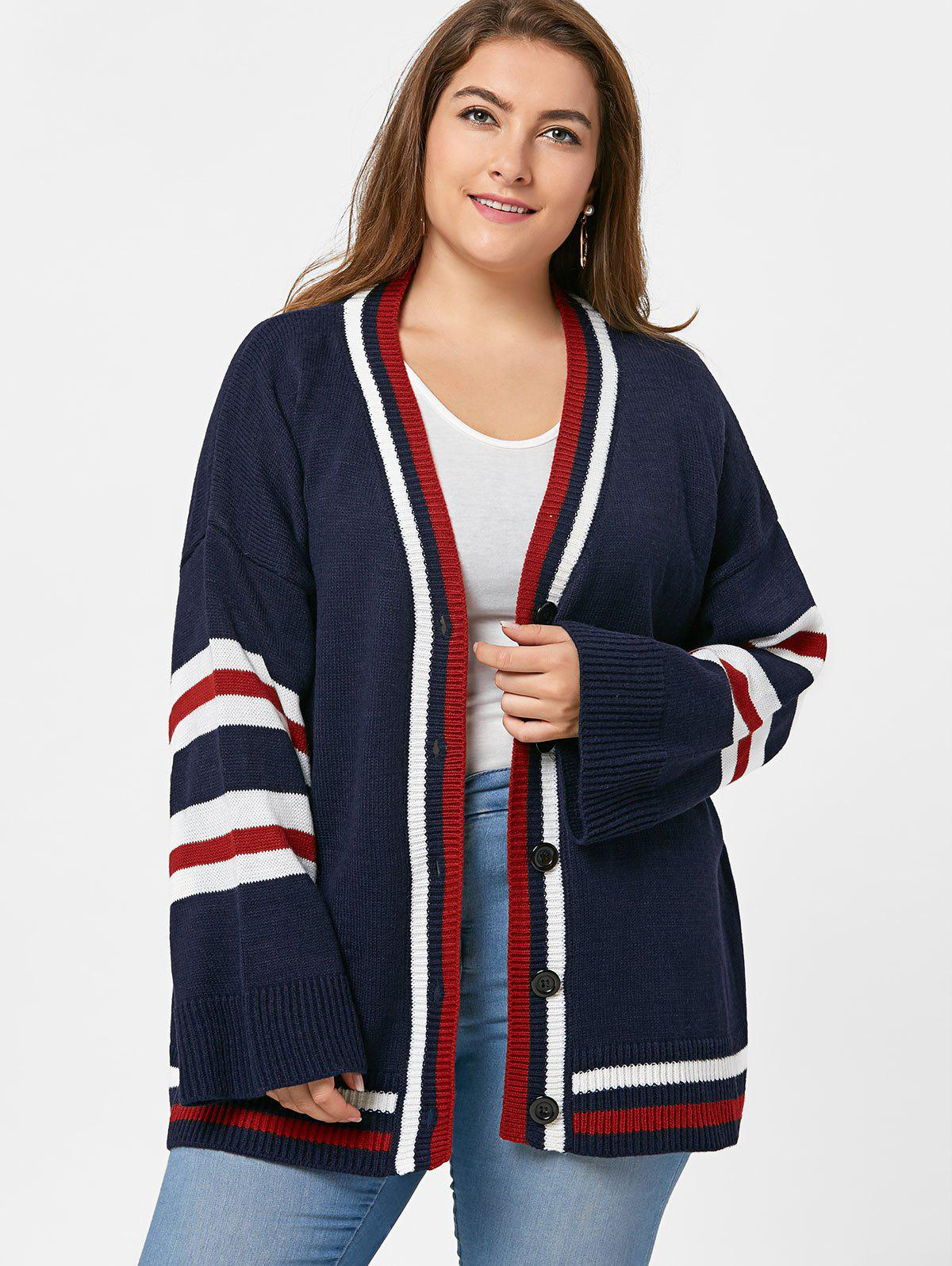 Cheap Button Up Plus Size Stripe Tunic Cardigan