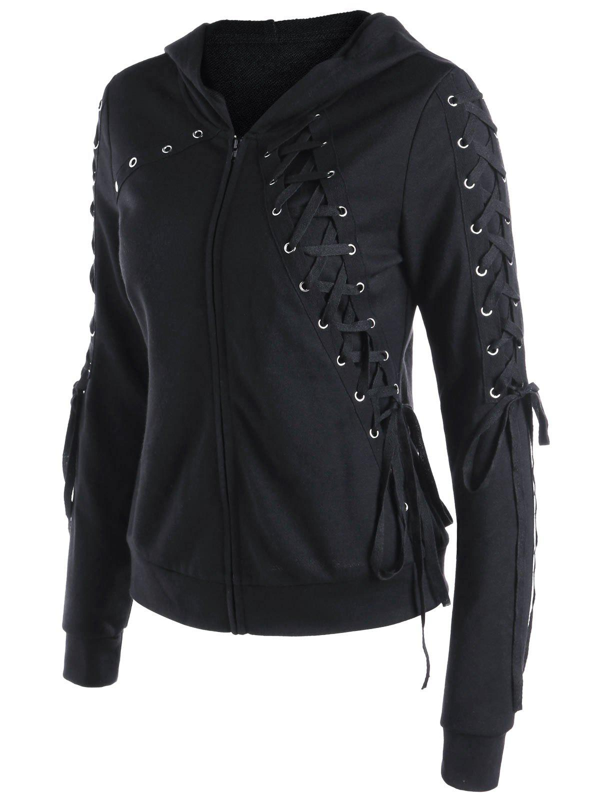 Affordable Zipper Up Lace Up Hoodie