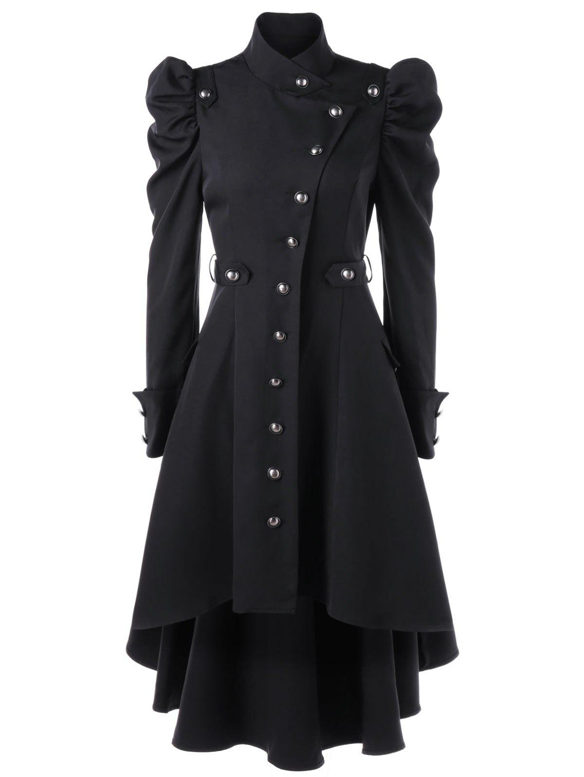 Puff Shoulder Single Breasted Dip Hem Trench CoatWOMEN<br><br>Size: 2XL; Color: BLACK; Clothes Type: Trench; Material: Polyester; Type: High Waist; Shirt Length: Long; Sleeve Length: Full; Collar: Stand-Up Collar; Pattern Type: Solid; Style: Vintage; Season: Fall,Spring; Weight: 0.7000kg; Package Contents: 1 x Trench Coat;