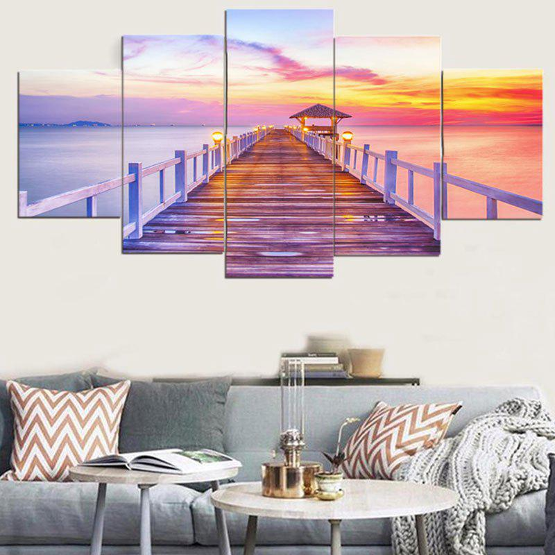 Unframed Rosy Clouds Print  Canvas PaintingsHOME<br><br>Size: 1PC:8*20,2PCS:8*12,2PCS:8*16 INCH( NO FRAME ); Color: COLORFUL; Subjects: Romance,Seascape; Product Type: Art Print; Features: Decorative; Style: Fashion,Romantic; Hang In/Stick On: Bedrooms,Cafes,Hotels,Living Rooms,Offices; Form: Five Panels; Frame: No; Material: Canvas; Package Contents: 1 x Canvas Paintings (Set);