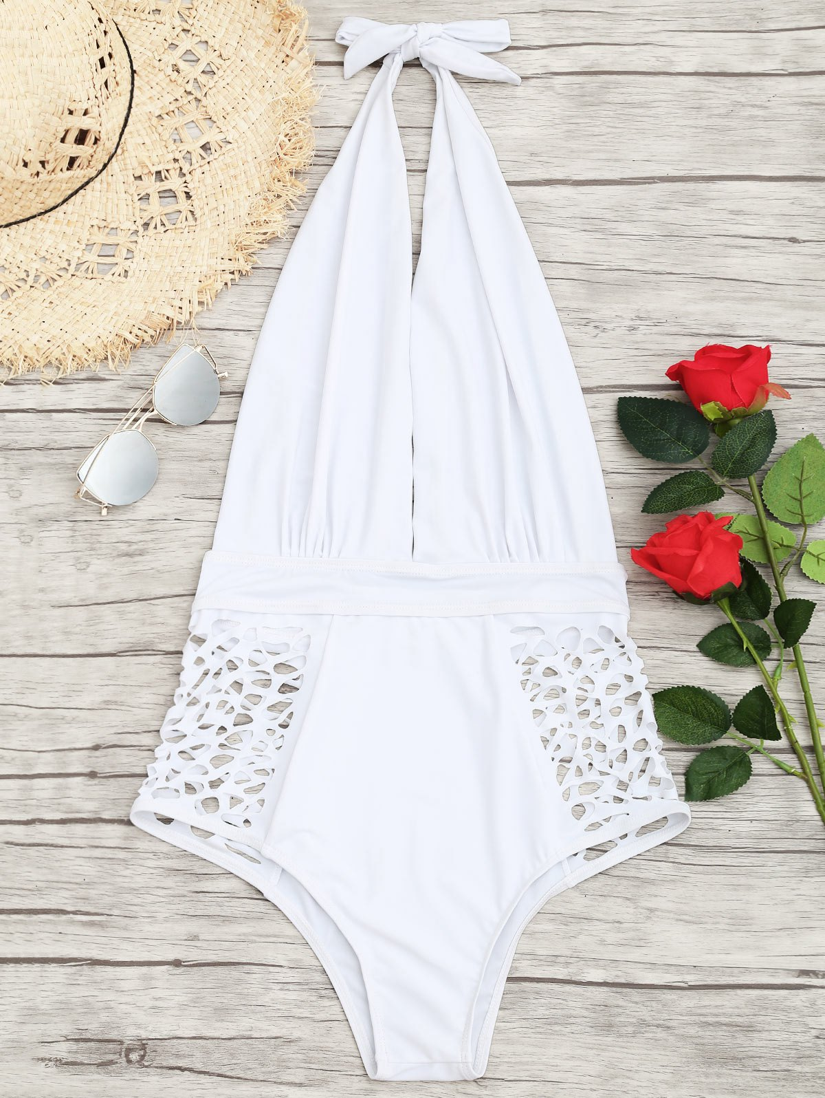 Affordable Cut Out High Waisted Plunge Swimsuit