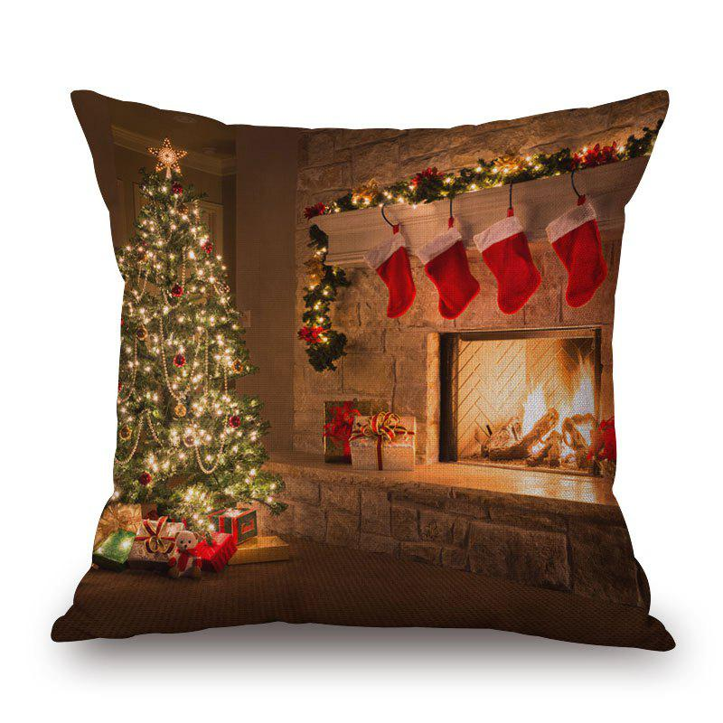 Christmas Tree Fireplace Print PillowcaseHOME<br><br>Size: 45*45CM; Color: BROWN; Material: Cotton Linen; Pattern: Christmas Tree; Style: Festival; Shape: Square; Weight: 0.2000kg; Package Contents: 1 x Pillowcase;