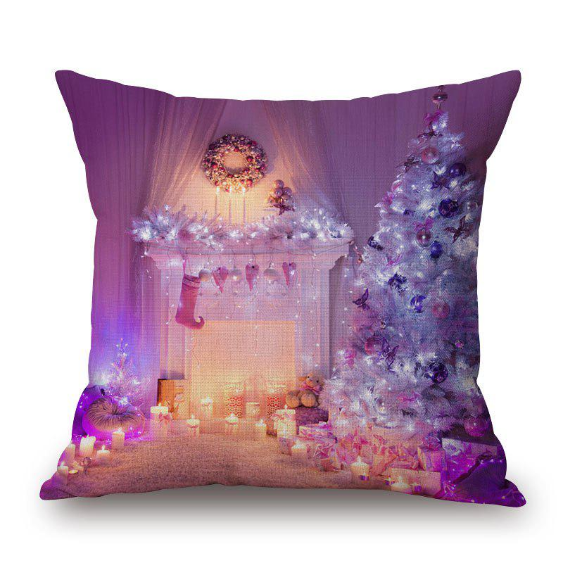 Christmas Fireplace Tree Decorative PillowcaseHOME<br><br>Size: 45*45CM; Color: PURPLE; Material: Cotton Linen; Pattern: Christmas Tree; Style: Festival; Shape: Square; Weight: 0.2000kg; Package Contents: 1 x Pillowcase;