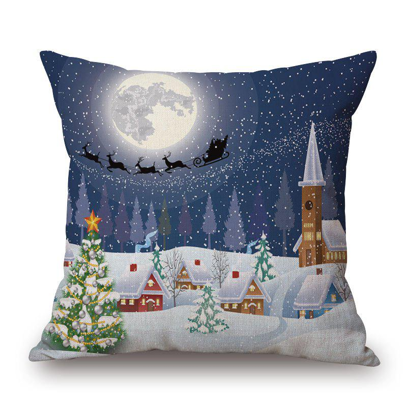 Christmas Moon Town Decorative PillowcaseHOME<br><br>Size: 45*45CM; Color: COLORMIX; Material: Cotton Linen; Pattern: Christmas Tree,Moon; Style: Festival; Shape: Square; Weight: 0.2000kg; Package Contents: 1 x Pillowcase;