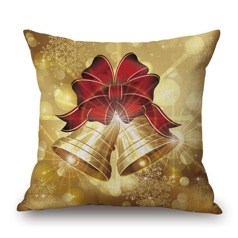 Christmas Bells Printed Decorative PillowcaseHOME<br><br>Size: 45*45CM; Color: LIGHT BROWN; Material: Cotton Linen; Pattern: Printed; Style: Festival; Shape: Square; Weight: 0.2000kg; Package Contents: 1 x Pillowcase;
