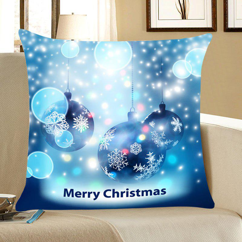 Christmas Snowflakes Balls Patterned Throw Pillow CaseHOME<br><br>Size: W18 INCH * L18 INCH; Color: BLUE; Material: Linen; Fabric Type: Linen; Pattern: Letter,Snowflake; Style: Festival; Shape: Square; Weight: 0.0700kg; Package Contents: 1 x Pillow Case;