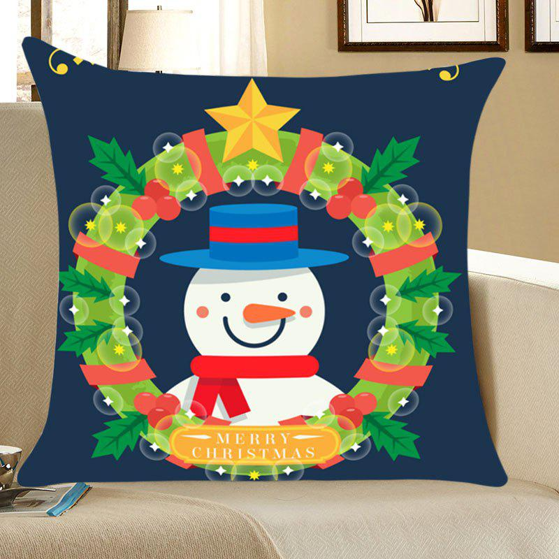Christmas Garland Snowman Patterned Throw Pillow CaseHOME<br><br>Size: W18 INCH * L18 INCH; Color: BLUE AND GREEN; Material: Linen; Fabric Type: Linen; Pattern: Floral,Letter,Snowman; Style: Festival; Weight: 0.0700kg; Package Contents: 1 x Pillow Case;