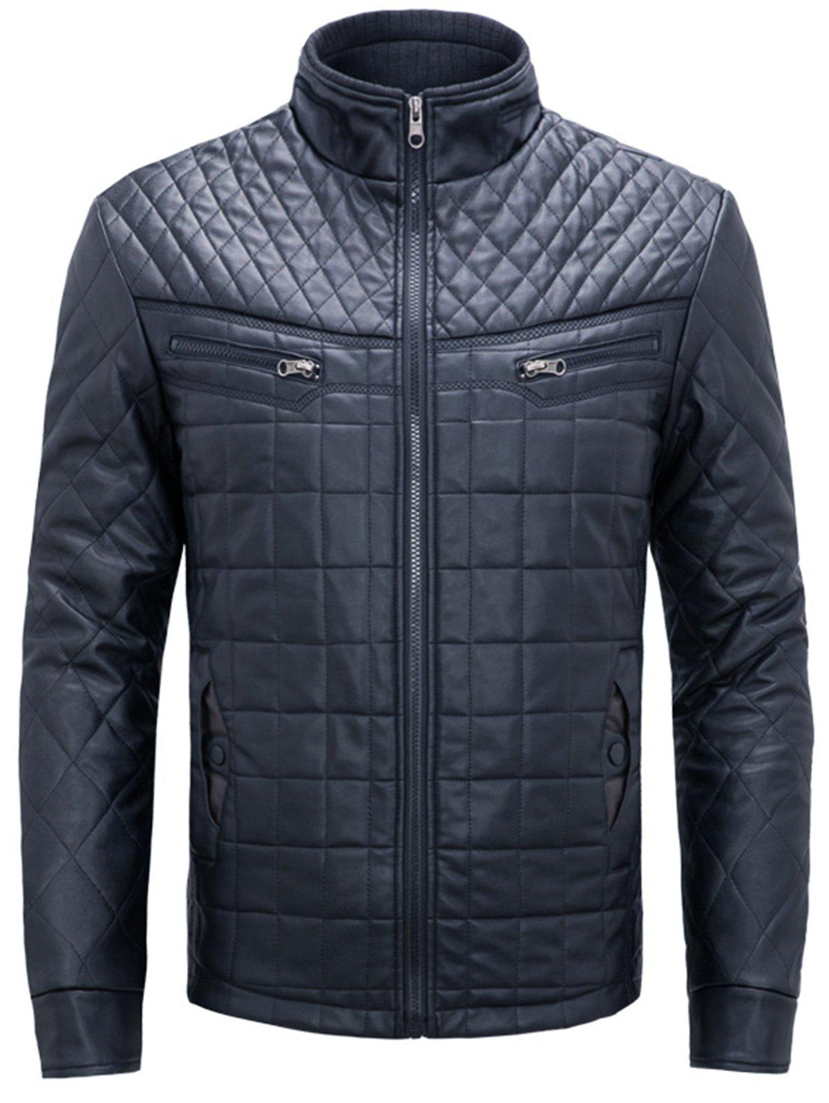 Fashion Checked Grid Quilted Faux Leather Jacket