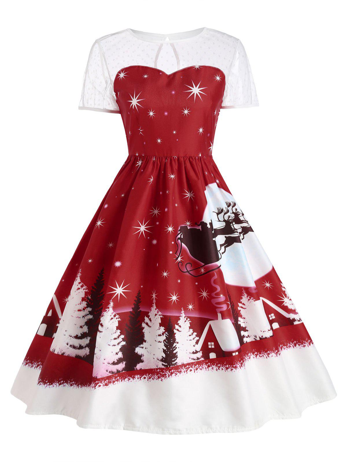Santa Claus Deer Vintage Christmas DressWOMEN<br><br>Size: 2XL; Color: DARK RED; Style: Cute; Material: Polyester; Silhouette: Ball Gown; Dresses Length: Mid-Calf; Neckline: Round Collar; Sleeve Length: Short Sleeves; Pattern Type: Print; With Belt: No; Season: Fall,Winter; Weight: 0.2400kg; Package Contents: 1 x Dress;