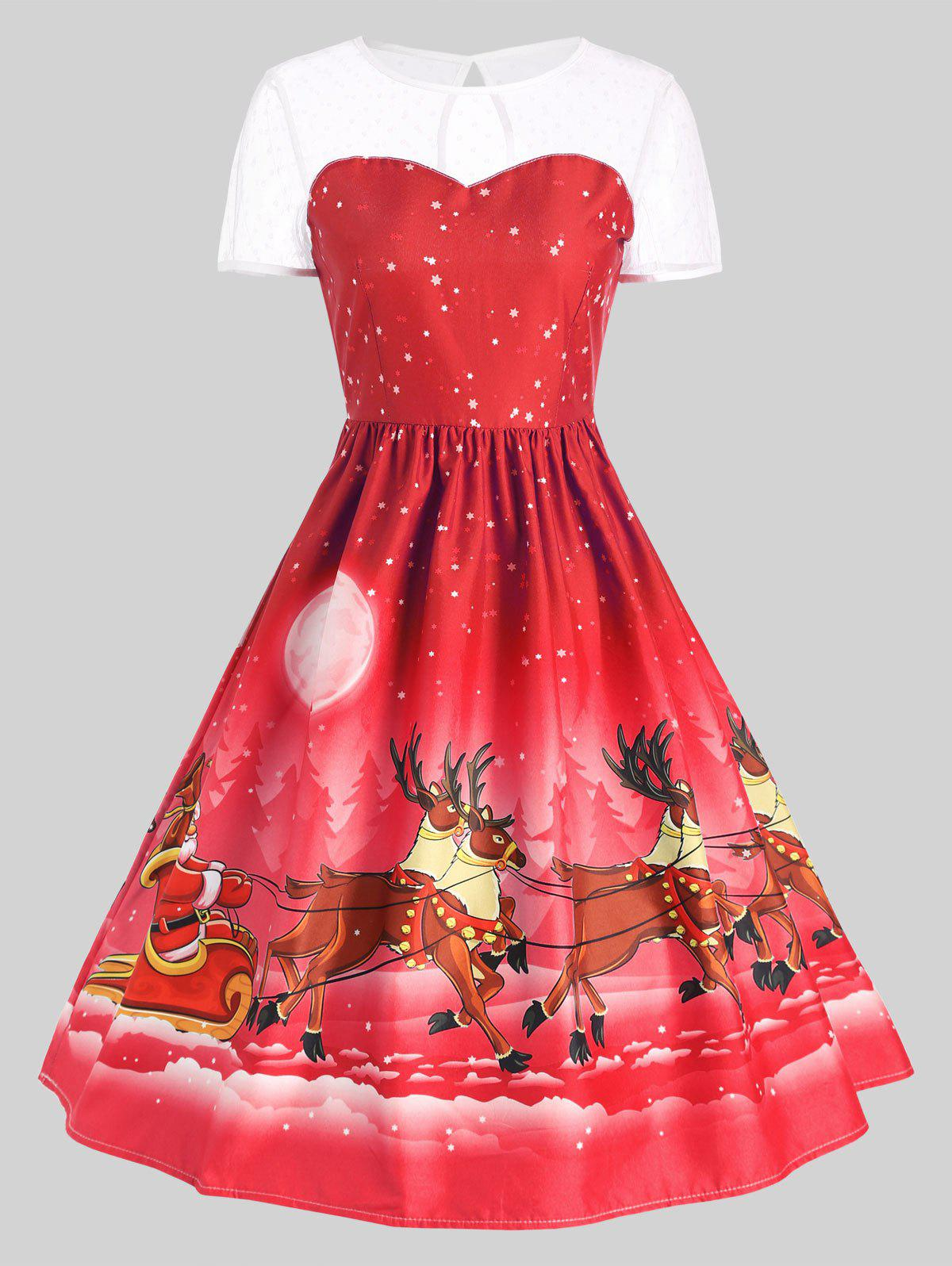 Mesh Panel Sleigh Santa Claus Christmas Party DressWOMEN<br><br>Size: XL; Color: RED; Style: Cute; Material: Polyester; Silhouette: Ball Gown; Dresses Length: Mid-Calf; Neckline: Round Collar; Sleeve Length: Short Sleeves; Embellishment: Vintage; Pattern Type: Animal,Character,Print; With Belt: No; Season: Fall,Winter; Weight: 0.2400kg; Package Contents: 1 x Dress;