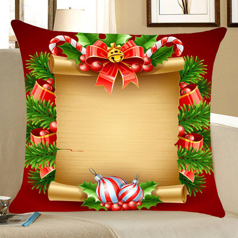 Christmas Scroll Decorations Patterned Throw Pillow CaseHOME<br><br>Size: W18 INCH * L18 INCH; Color: YELLOW AND RED; Material: Linen; Fabric Type: Linen; Pattern: Printed; Style: Festival; Shape: Square; Weight: 0.0700kg; Package Contents: 1 x Pillow Case;