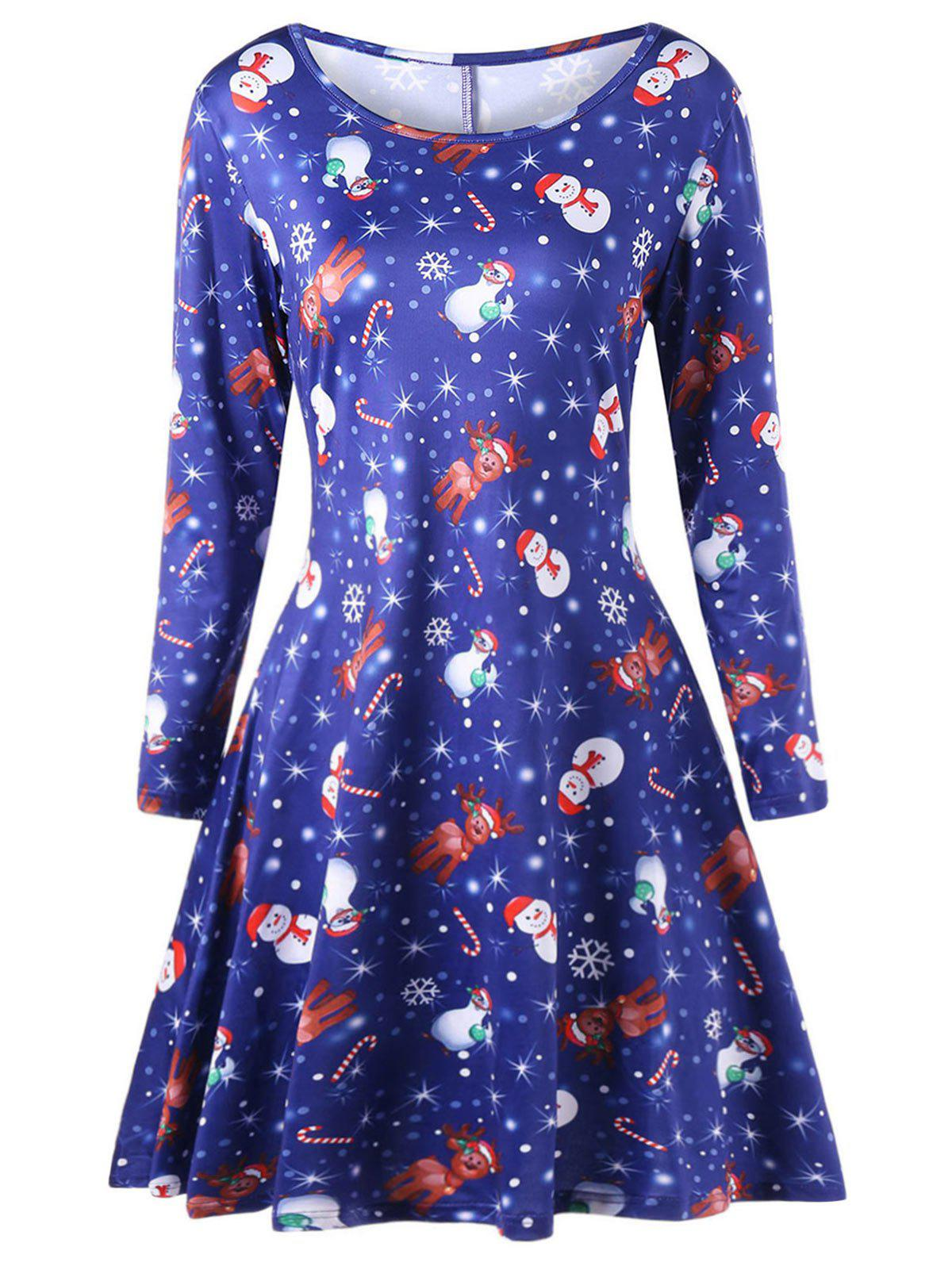 Plus Size Elk Print Long Sleeve Christmas Skater DressWOMEN<br><br>Size: 3XL; Color: BLUE; Style: Casual; Material: Cotton,Spandex; Silhouette: A-Line; Dresses Length: Mid-Calf; Neckline: Scoop Neck; Sleeve Length: Long Sleeves; Pattern Type: Cartoon; With Belt: No; Season: Fall,Spring,Winter; Weight: 0.3000kg; Package Contents: 1 x Dress;