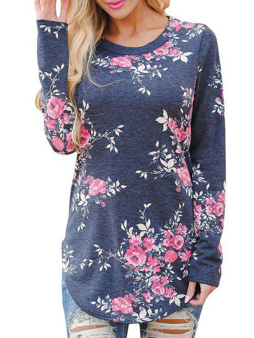 Outfits Long Sleeve Floral Print Tunic T-shirt
