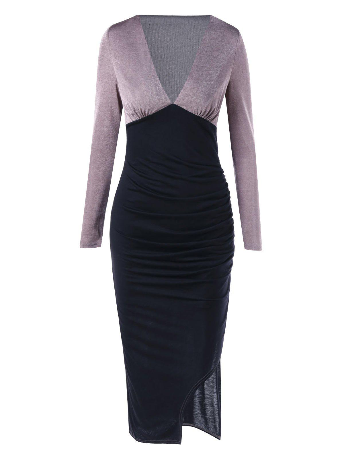 Latest Long Sleeve Plunging Neckline Midi Bodycon Dress