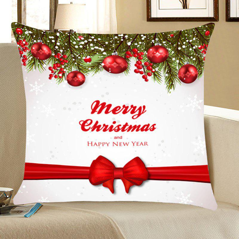 Christmas Balls Bowknot Belt Patterned Throw Pillow CaseHOME<br><br>Size: W18 INCH * L18 INCH; Color: RED WITH WHITE; Material: Linen; Fabric Type: Linen; Pattern: Letter,Printed; Style: Festival; Shape: Square; Weight: 0.0700kg; Package Contents: 1 x Pillow Case;