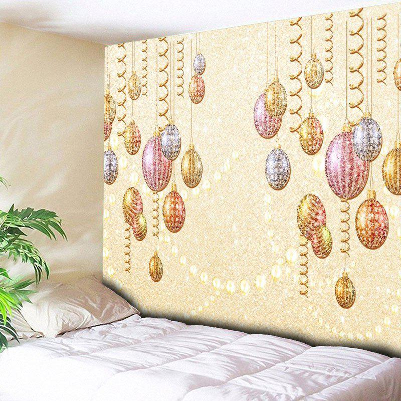 Christmas Ball Ornaments Printed Wall Hanging TapestryHOME<br><br>Size: W79 INCH * L59 INCH; Color: LIGHT YELLOW; Style: Festival; Theme: Christmas; Material: Cotton,Polyester; Feature: Removable,Washable; Shape/Pattern: Ball; Weight: 0.3000kg; Package Contents: 1 x Tapestry;