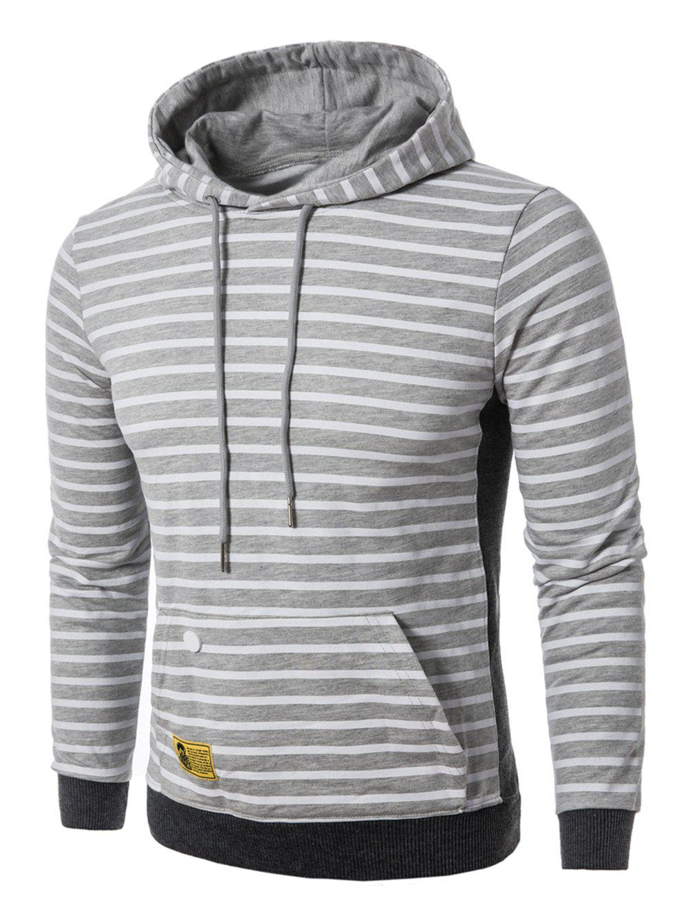 Fashion Rib Panel Pouch Pocket Stripe Pullover Hoodie