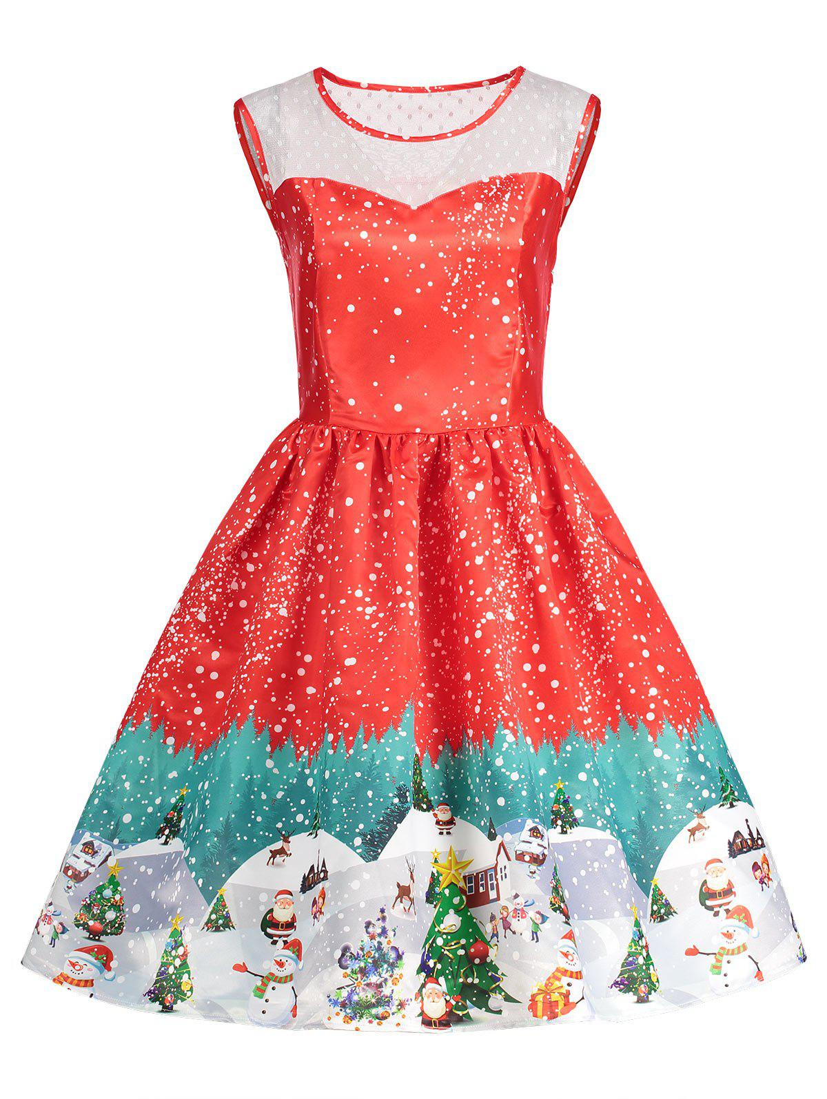 Fancy Sleeveless Christmas Print Vintage Dress