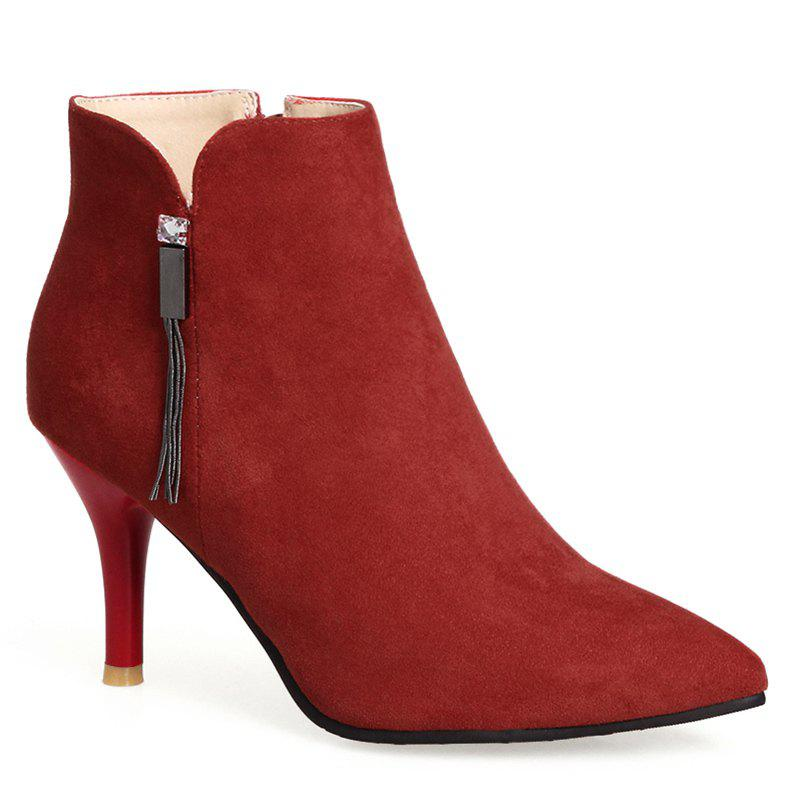 Outfits Pointed Toe Stiletto Heel Side Zip Boots