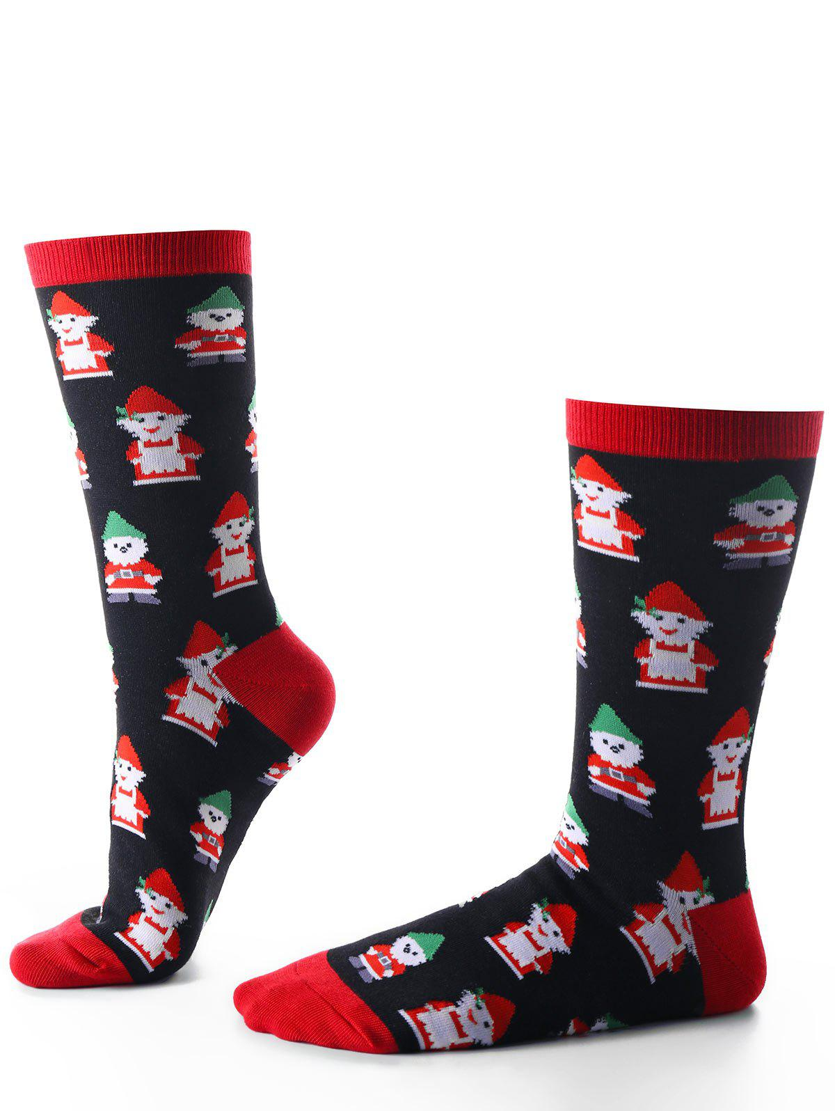 Santa Claus Warm Christmas SocksACCESSORIES<br><br>Color: BLACK; Type: Socks; Group: Adult; Gender: Unisex; Style: Fashion; Pattern Type: Print; Weight: 0.1100kg; Package Contents: 1 x Socks;