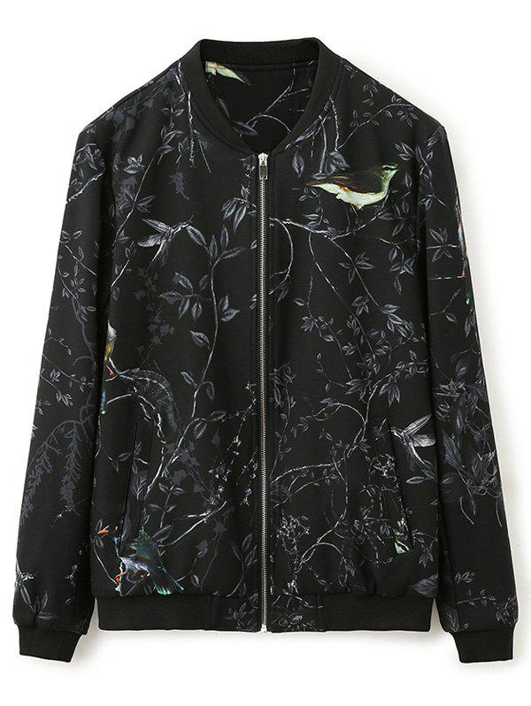 Shop 3D Bird and Floral Print Zip Up Jacket