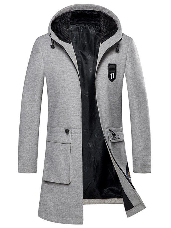 Shops Zip Up Embroidered Woolen Coat