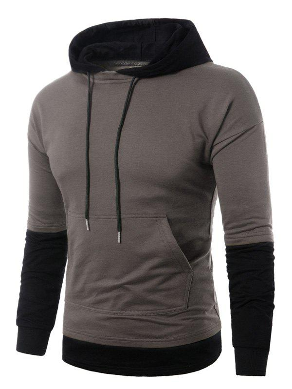 Best Faux Twinset Panel Pouch Pocket Pullover Hoodie