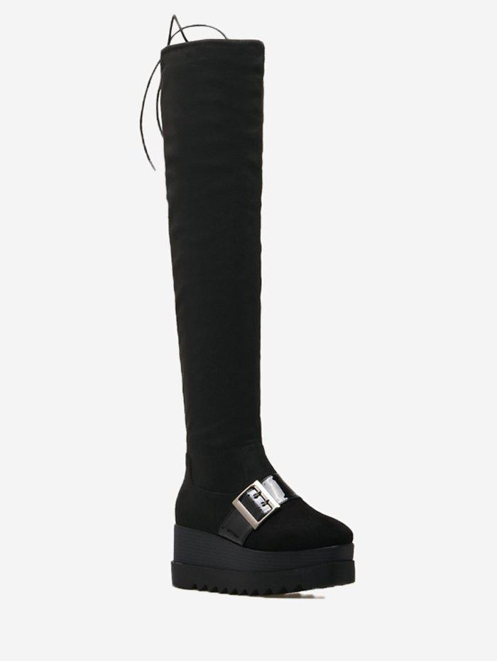 Online Square Toe Buckle Strap Thigh High Boots