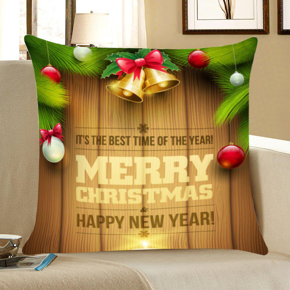 Merry Christmas Wood Pattern Linen Pillow CaseHOME<br><br>Size: W18 INCH * L18 INCH; Color: COLORFUL; Material: Linen; Pattern: Figure; Style: Festival; Shape: Square; Weight: 0.0700kg; Package Contents: 1 x Pillow Case;