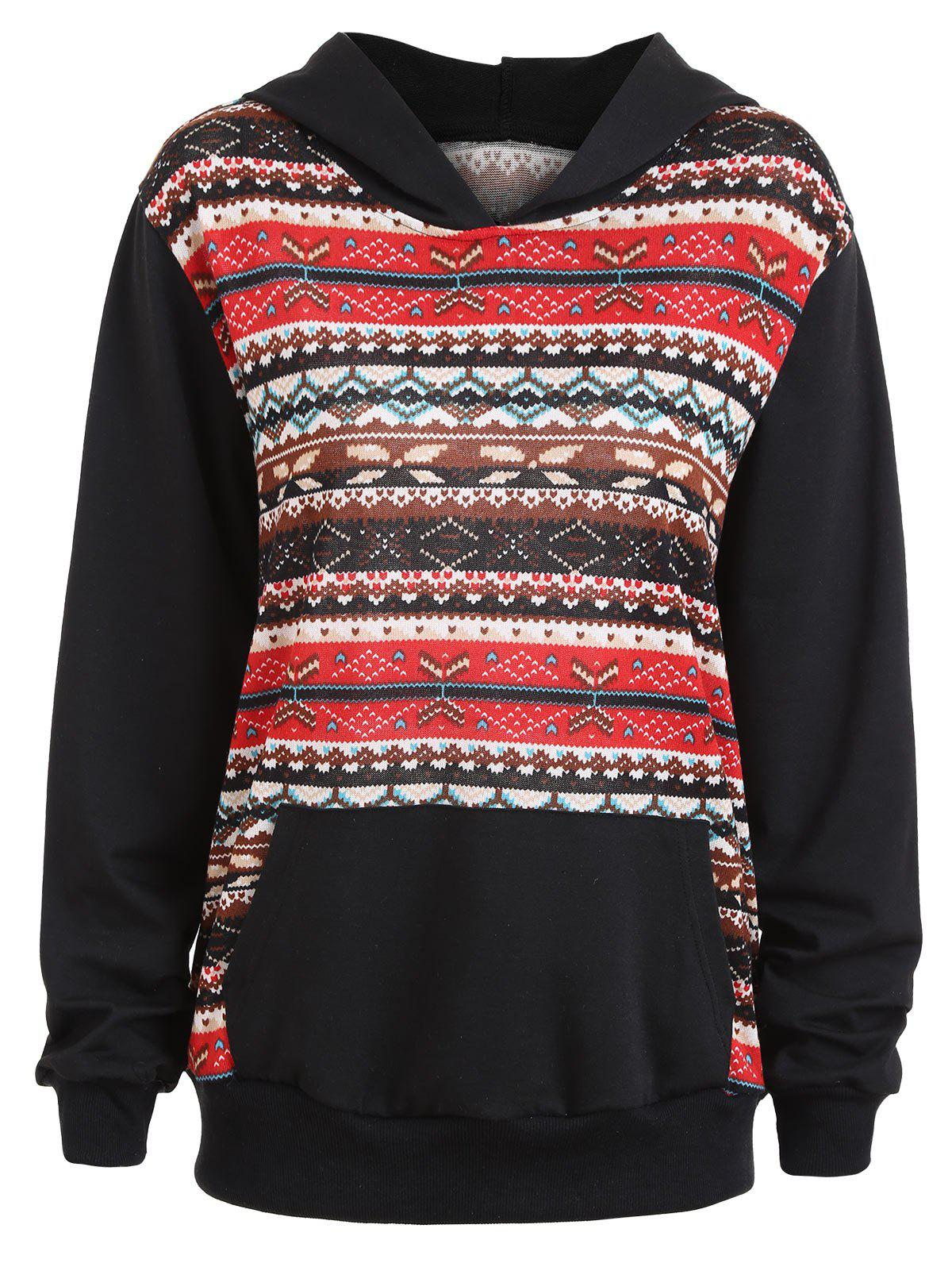 Plus Size Kangaroo Pocket Fair Isle HoodieWOMEN<br><br>Size: 5XL; Color: BLACK; Material: Polyester; Shirt Length: Regular; Sleeve Length: Full; Style: Fashion; Pattern Style: Geometric,Print; Embellishment: Front Pocket; Season: Fall,Winter; Weight: 0.4900kg; Package Contents: 1 x Hoodie;