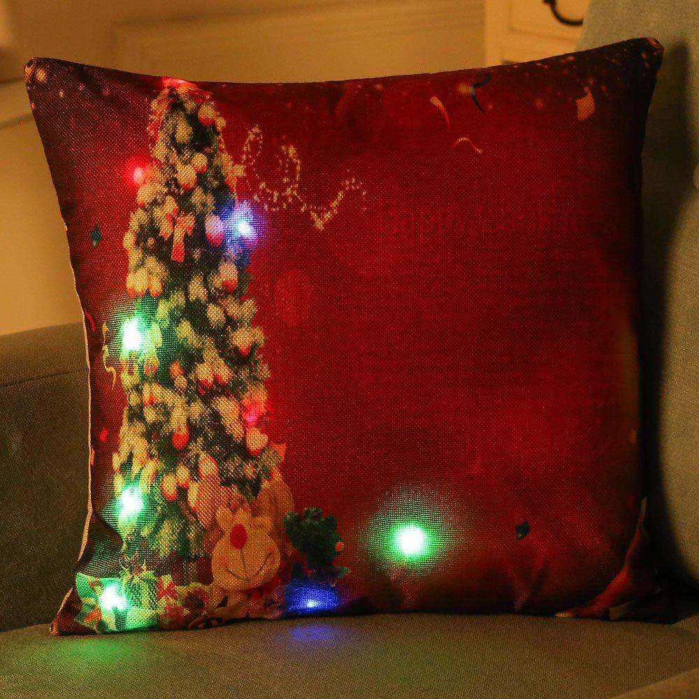 Decorative LED Light Glowing Christmas Tree Pillow Case, Red